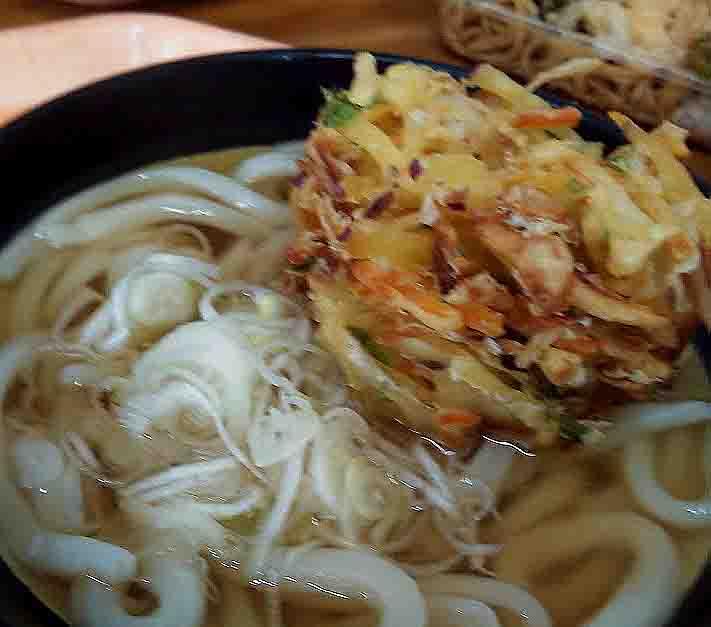 杢屋のかけうどん+野菜かき揚げ